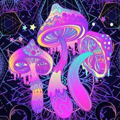 tenture psychedelique uv champignon hallucinogene