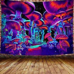 tenture psychedelique lumiere noire champignon