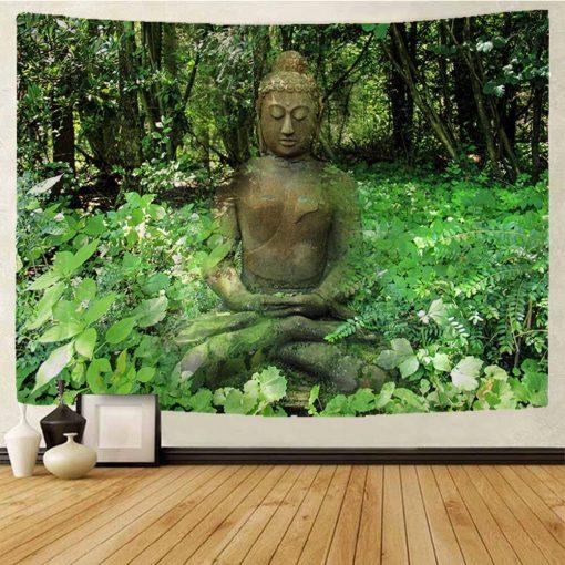 tenture bouddha statue lotus