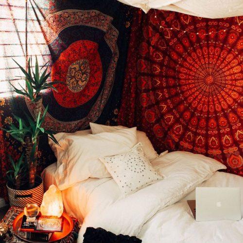 chambre tenture mandala boheme