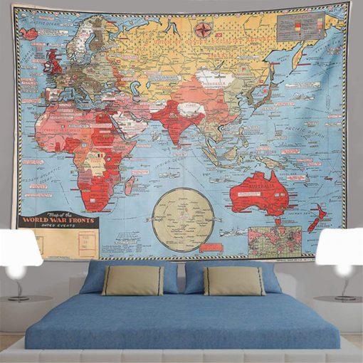 tenture murale carte du monde