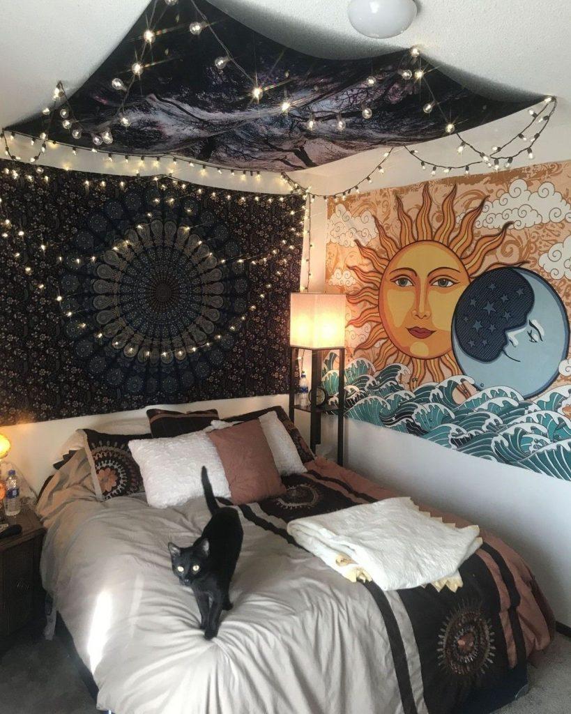 tenture murale boheme chambre