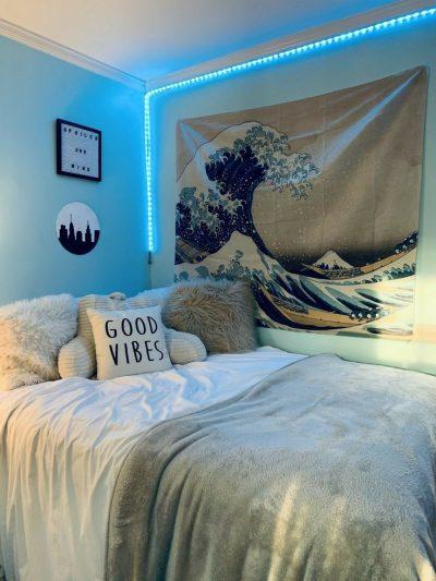 tenture murale vague chambre ado